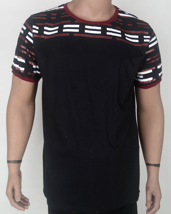 Red and White Dashes Black T-shirt - XL