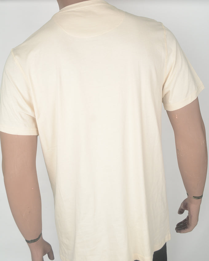 Plain Cream T-shirt with Green Pocket - XL
