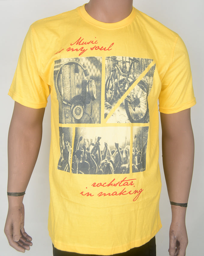 Music is My Soul Yellow T-shirt- XL