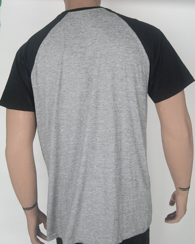 Los Angeles Black Collar/Sleeve Gret T-shirt - XL