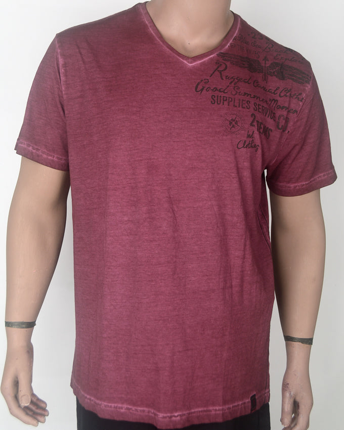 Rugged V-neck Maroon T-shirt - XL