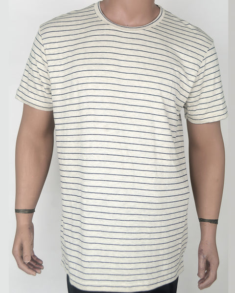 Plain Cream with Blue Stripes - XL