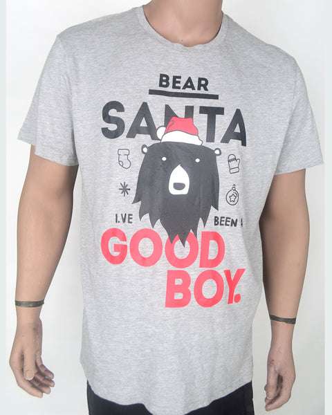 Bear Santa Good Boy - Grey T-shirt - XL