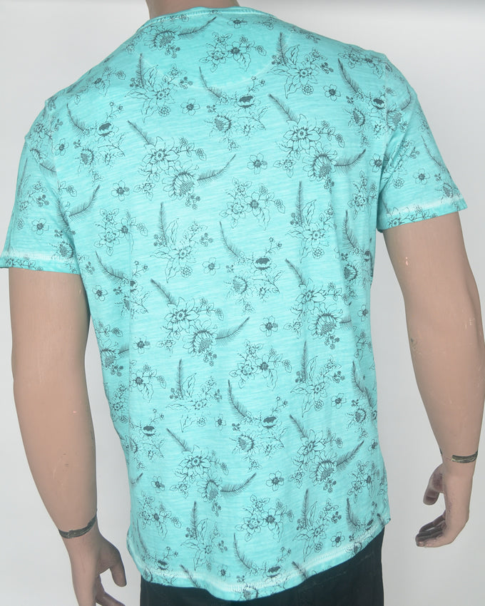Hawaii Print Blue T-shirt - XL