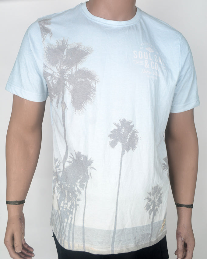 Light Blue Palm Trees T-shirt - XL