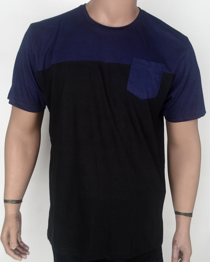 Dark Black and Blue Pocket T-shirt -XL