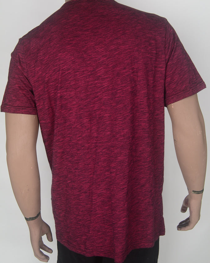 V-neck Buttoned Maroon T-shirt - XL