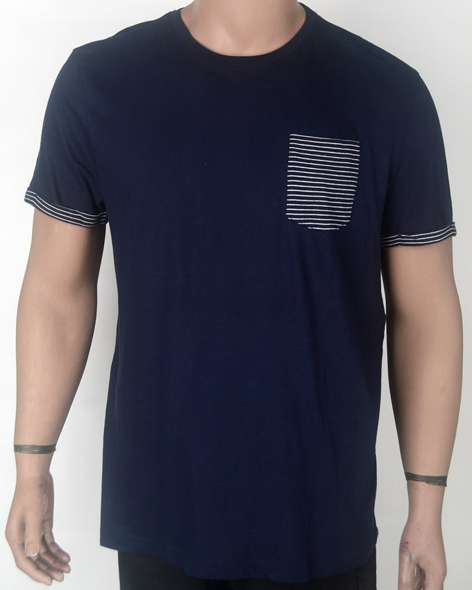 Plain Dark Blue T-shirt with Patched Pocket - XL