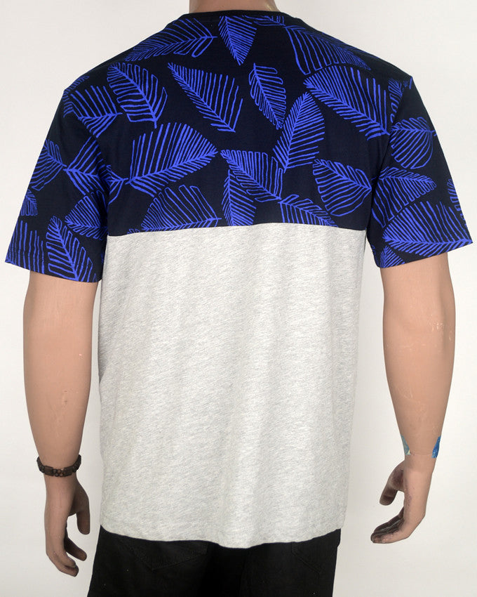 Blue White Grey Leaf Print T-shirt - XL