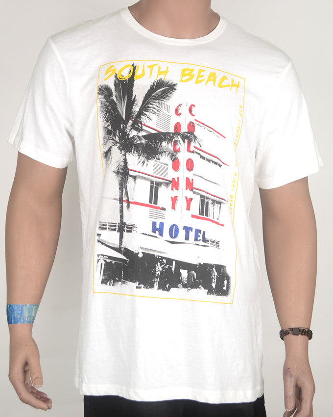 South Beach Print White T-shirt - XL