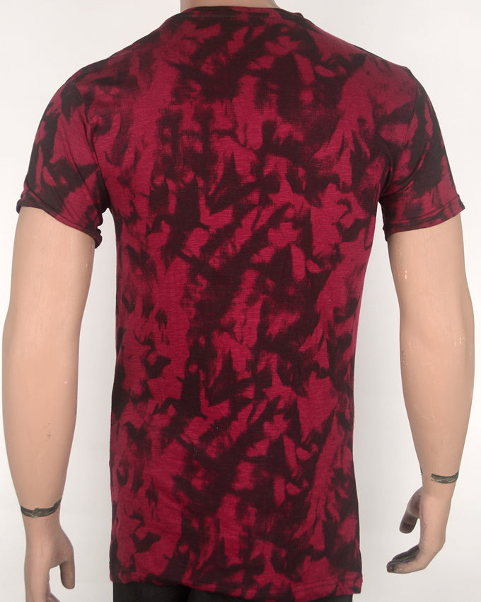 Maroon and Black Patterned T-shirt - Medium