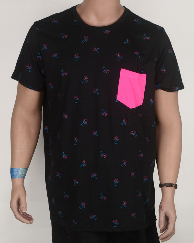 Pink Pocket Flamingo Print T-shirt - XL