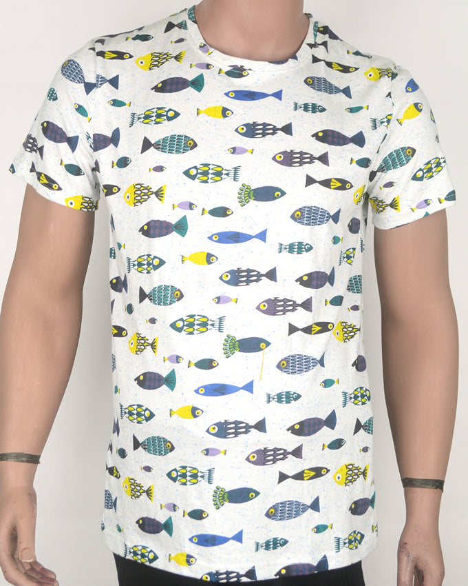 Fish Overload Print White T-shirt - Medium