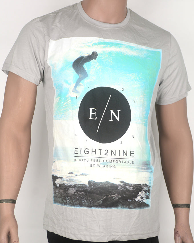 E/N Guy Surfing  Grey T-shirt - Medium