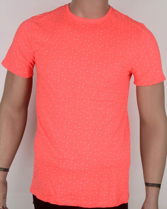 Bright Red Dotted T-shirt - Medium