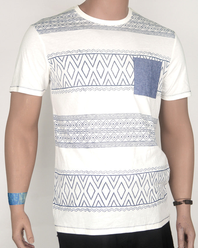 Off White Aztec Print with Pocket T-Shirt - Large