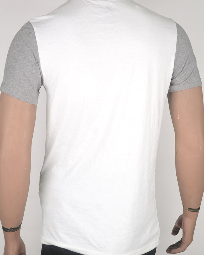 White With Grey Sleeves and Pocket T-shirt - Medium