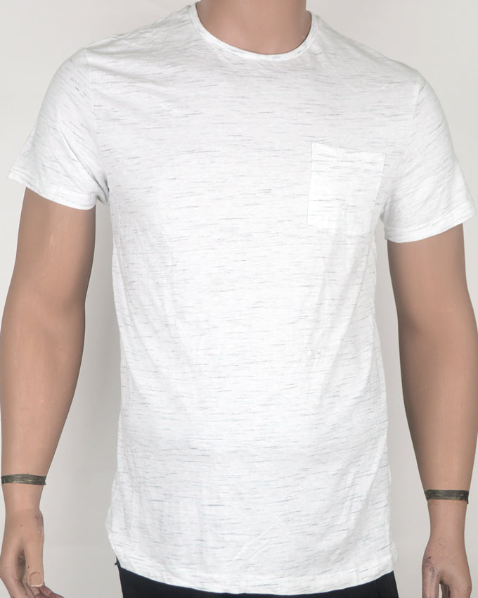Simple Dashes with Pocket White T-shirt - Medium