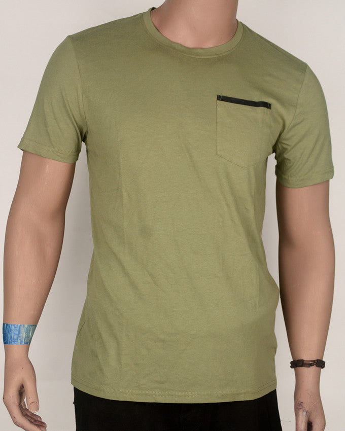 Pale Green with Pocket T-Shirt - Large
