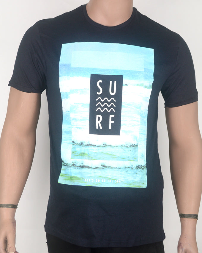 Surf Print White Square Navy Blue T-shirt - Medium