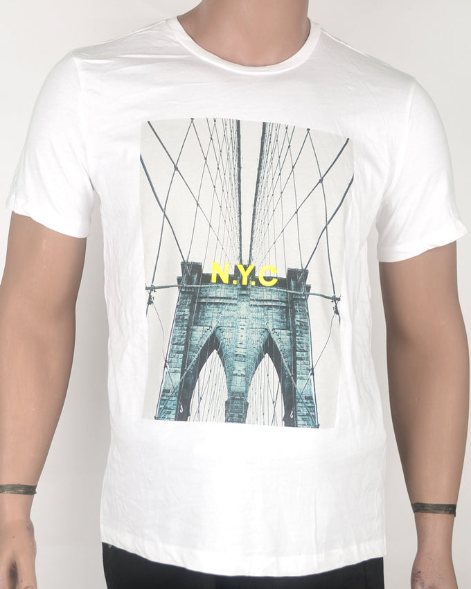 NYC Bridge White T-shirt - Medium