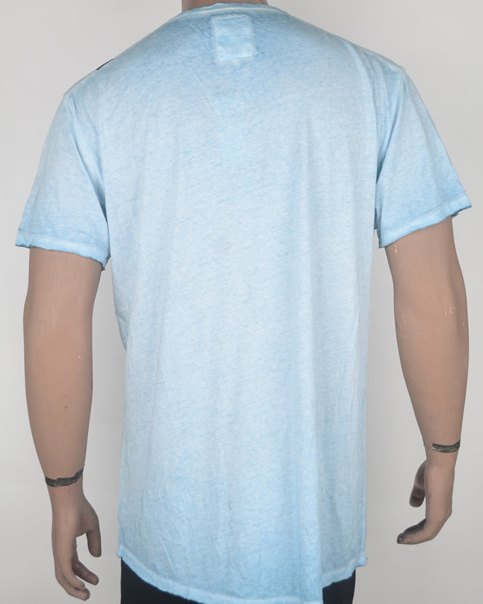 Raw Print Blue Wash Long-Fit T-shirt - XL