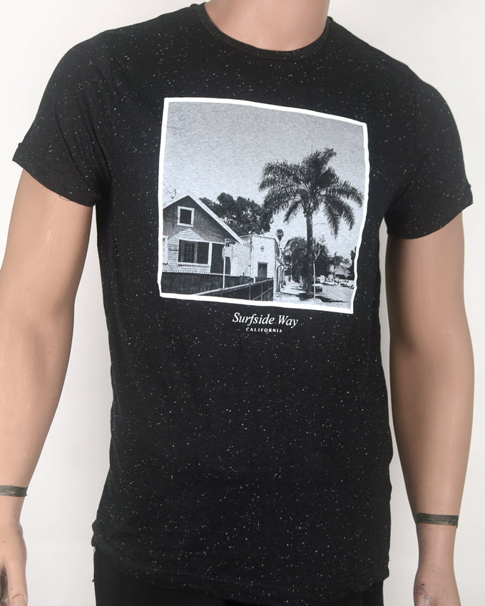Surfside Way Print Black T-shirt - Medium
