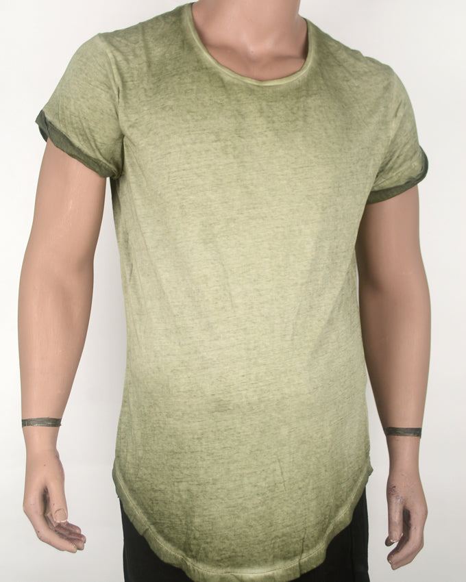 Low cut Long-fit Washed Green T-shirt - Medium