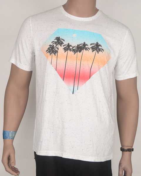 Palm Trees in a Diamond White T-Shirt - Large