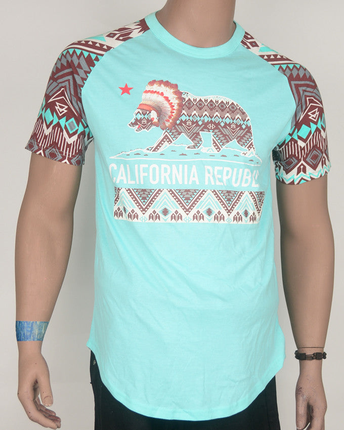California Republic Teal with Print Sleeves T-Shirt - Large