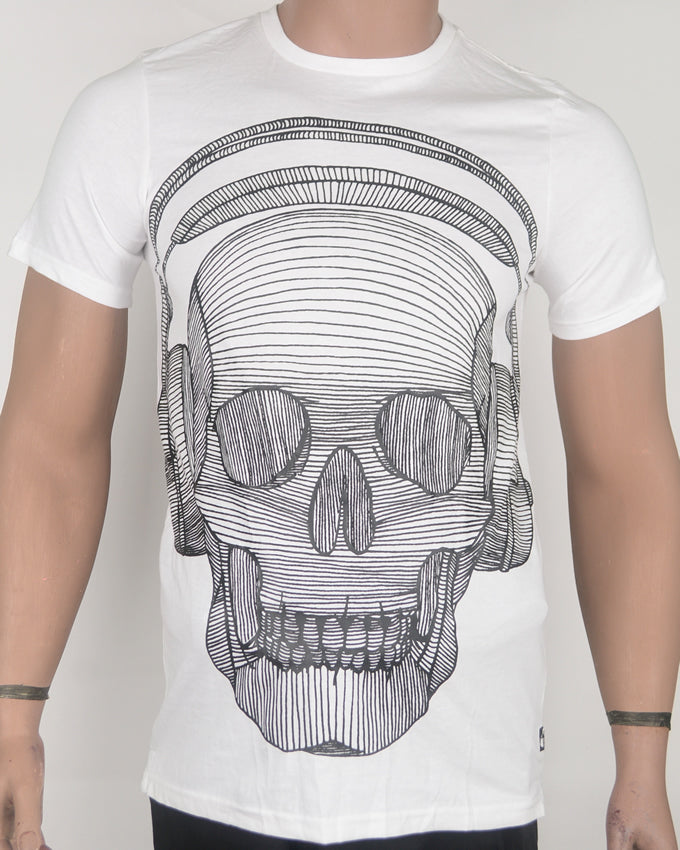 Skull Face with Headphones White T-shirt - Medium