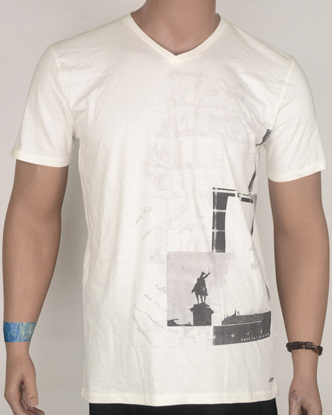 Off White Abstract Print with Ride T-Shirt  - Large