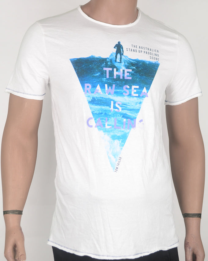 The Raw Ocean Surf White T-shirt - Medium