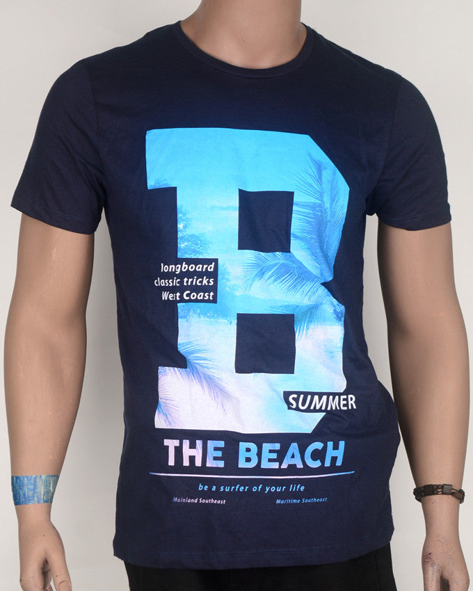 BIG B The Beach Navy Blue T-Shirt  - Large