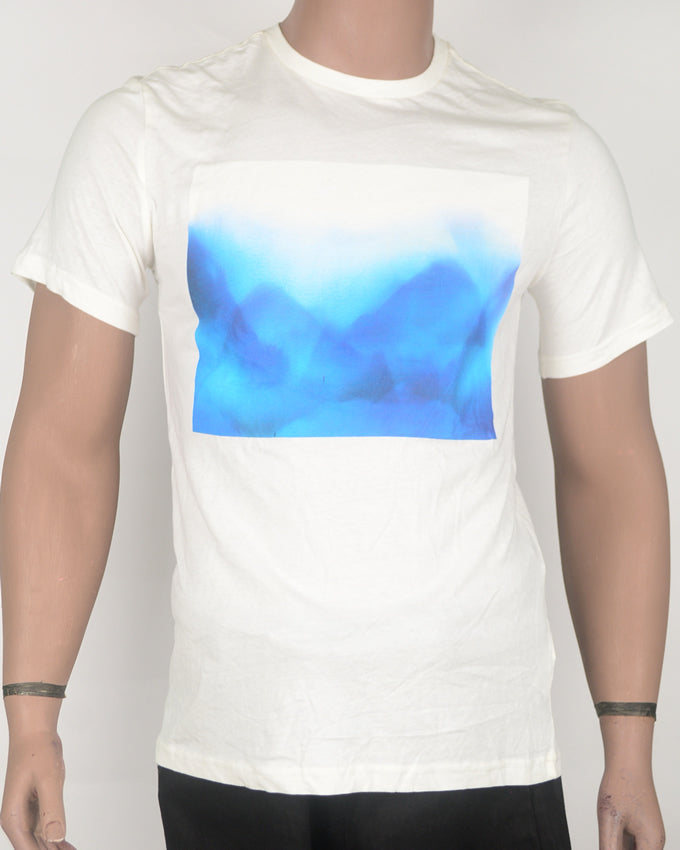 Abstract Blue Waves White T-shirt - Medium