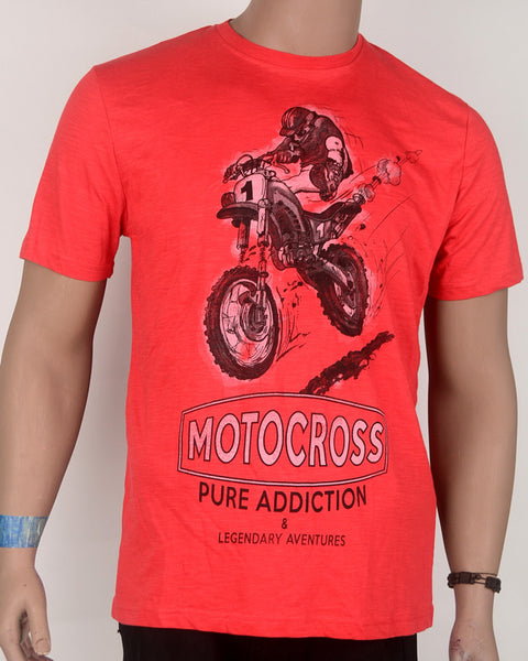 Red Mortorcycle Print T-Shirt - Large