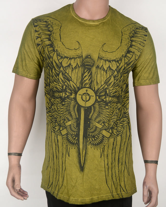 Flying Sword Print Dull Green T-shirt - XL