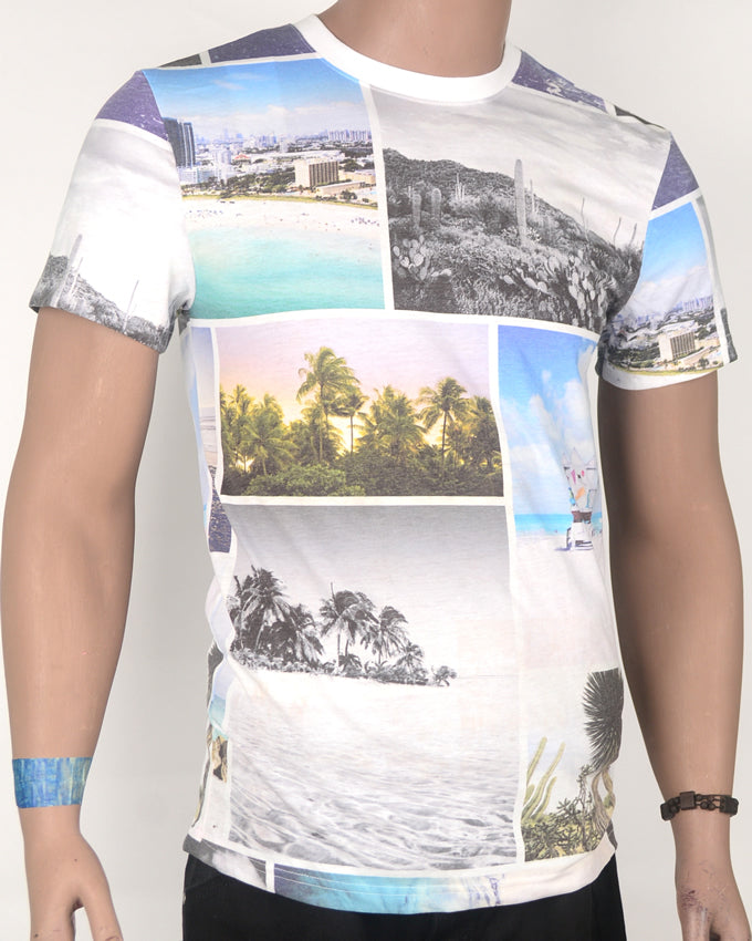 Patched Scenery With Palms White T-Shirt - Medium
