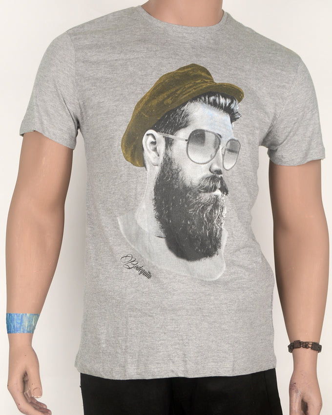 Bearded Guy Print  Grey T-shirt - Medium