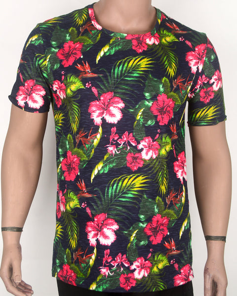 Multicolor Flower Print T-shirt - XL