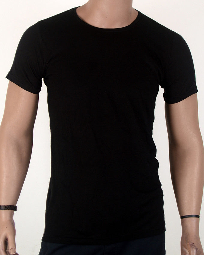 Plain Black Round-Neck T-shirt - XL