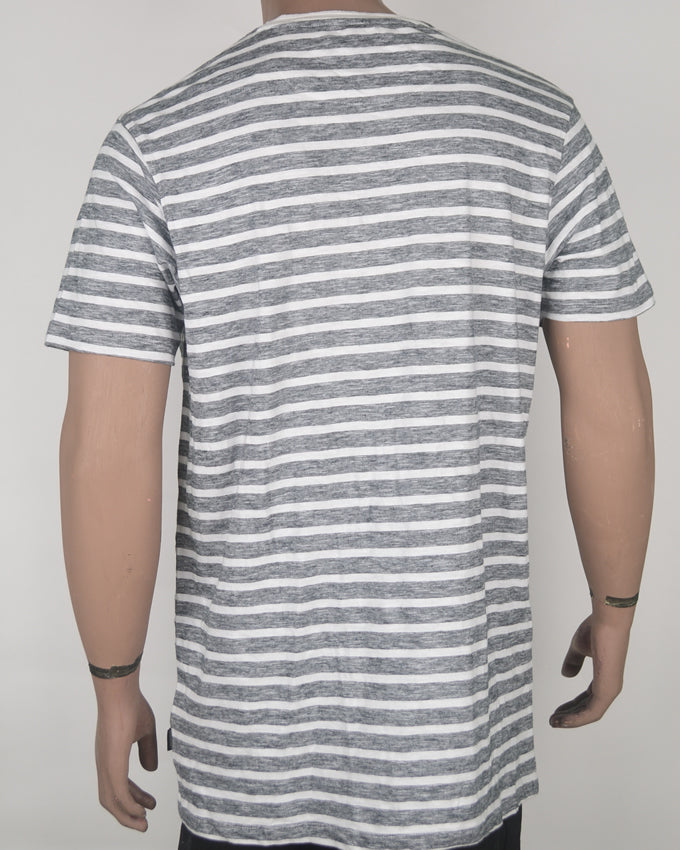 Buttoned Grey and White Stripes T-shirt - XL