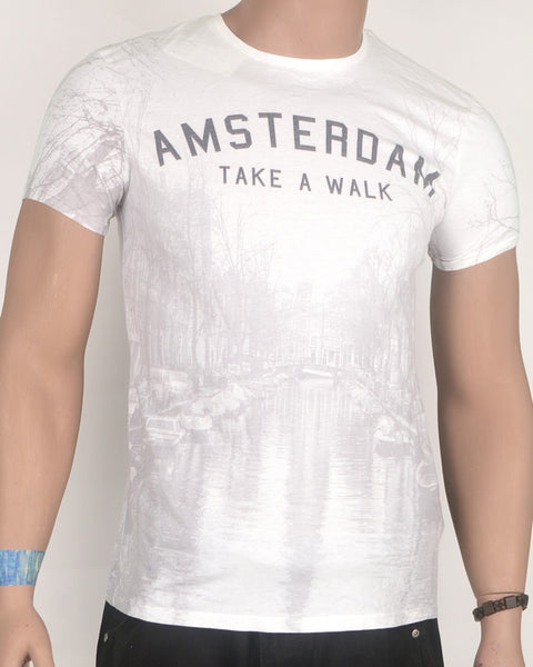 Amsterdam Take a Walk White - T-shirt - Small