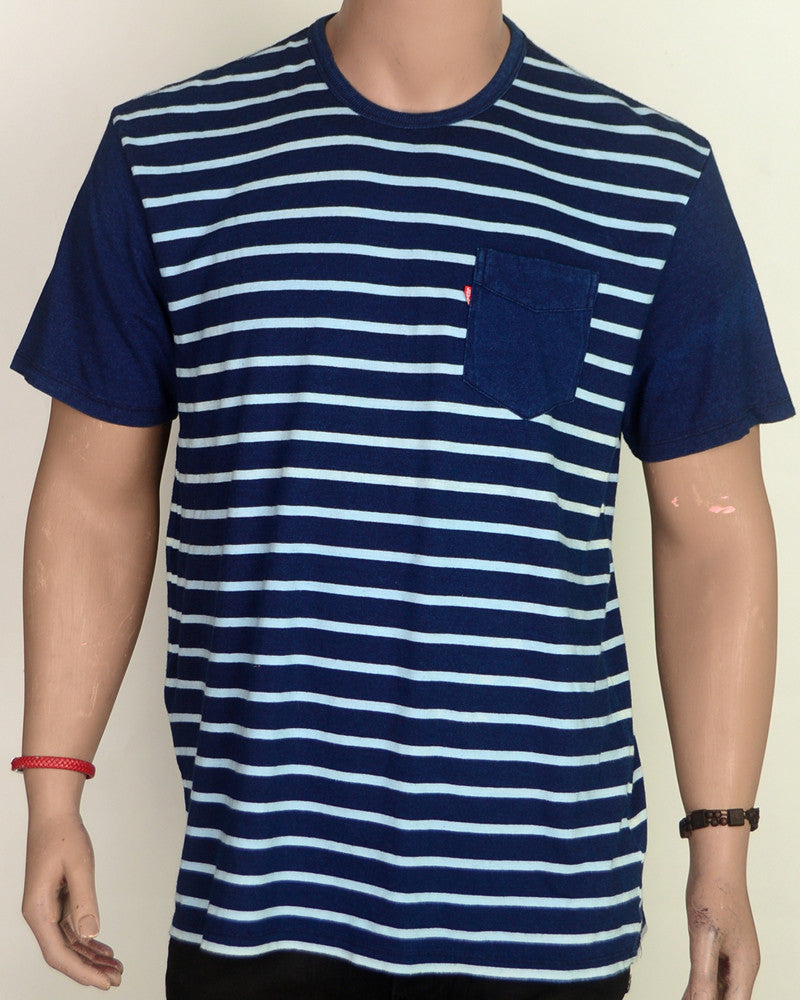 Stripes with Patch Pocket - T-shirt - XL