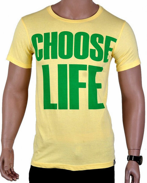 Choose Life T-shirt - Yellow - Medium