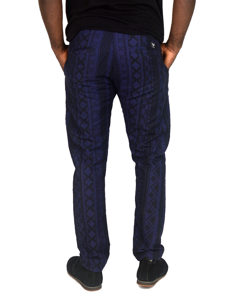 Patterned Blue & Black Pants