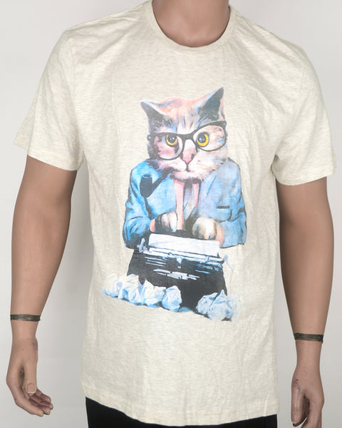 Nerdy Cat Typing Cream T-shirt - XL