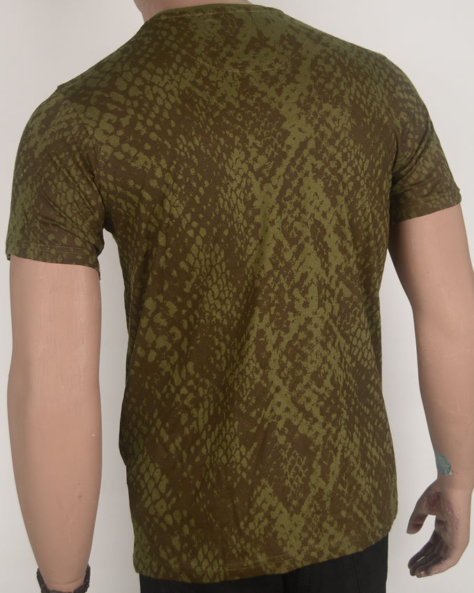 Wild Rebel Green and Brown T-shirt - Small