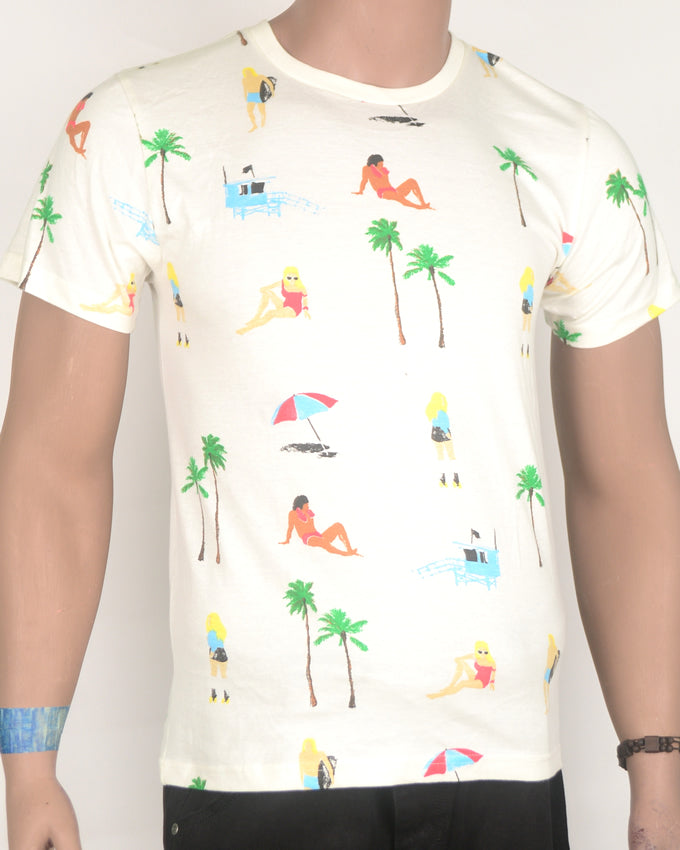 Beach and Palm Trees Off White T-shirt - Small
