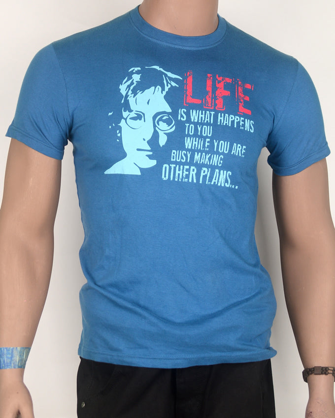Life is What Happens Blue T-shirt - Small